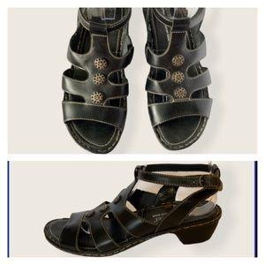 JOSEF SEIBEL Black Leather Comfort Sandals EUC!!!